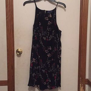 Black and Floral Sleeveless Dress